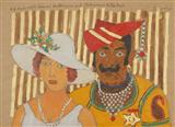 H.H. Maharaja Sawai Madhopur and Maharani Rita Devi - M F Husain - Auction December 2005