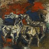 Three Horses - M F Husain - Summer Auction 2007