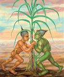Men Fighting for Sugar Cane, Botanic Sights 2 - Gopikrishna   - Spring Auction 2008