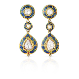 A PAIR OF DIAMOND AND ENAMEL EAR PENDANTS -    - Fine Jewels and Objets d'Art