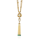 A DIAMOND, COLOURED DIAMOND AND PEARL TASSEL NECKLACE -    - Fine Jewels and Objets d'Art