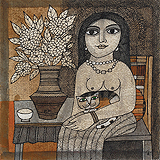 Girl with Cat - Badri  Narayan - Summer Auction 2009