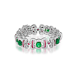 AN EMERALD, RUBY AND DIAMOND BRACELET -    - Spring Auction of Fine Jewels