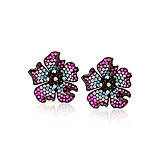 A PAIR OF RUBY, IOLITE AND DIAMOND `FLOWER` EAR CLIPS -    - Spring Auction of Fine Jewels