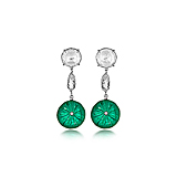 A PAIR OF EMERALD AND DIAMOND EAR PENDANTS -    - Spring Auction of Fine Jewels