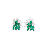 A PAIR OF EMERALD AND DIAMOND EAR CLIPS -    - Auction of Fine Jewels & Watches