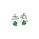 A PAIR OF EMERALD, PEARL AND DIAMOND EAR PENDANTS -    - Auction of Fine Jewels & Watches