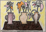 Three Flower Vases on a Table - Jogen  Chowdhury - Summer Auction 2010