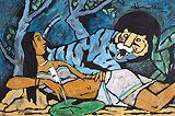 Lady with Blue Tiger - M F Husain - Autumn Auction 2011