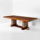 A TWIN PEDESTAL DINING TABLE -    - 24-Hour Online Auction: Art Deco