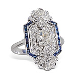 A SAPPHIRE AND DIAMOND RING -    - 24-Hour Online Auction: Art Deco