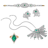 A SUITE OF EMERALD AND DIAMOND JEWELRY -    - 24-Hour Online Auction: Art Deco