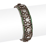 AN EMERALD AND DIAMOND BRACELET -    - 24-Hour Online Auction: Art Deco