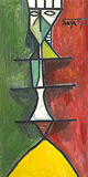 Figure on Red & Green Background - F N Souza - Autumn Art Auction