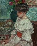 Portrait de jeune fille à la robe blanche et à la ceinture rouge - Georges  d'Espagnat - Impressionist and Modern Art Auction