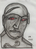 Agonised (Man) - Jogen  Chowdhury - Words & Lines II Auction