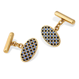 A PAIR OF ENAMEL AND GOLD CUFFLINKS -    - The Gentleman's Sale