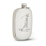 A 'GOLF PLAYER' STERLING SILVER FLASK -    - The Gentleman's Sale
