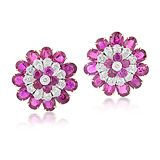 A MAGNIFICENT PAIR OF RUBY AND DIAMOND EAR CLIPS -    - Auction of Fine Jewels & Watches