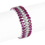 AN IMPRESSIVE RUBY AND DIAMOND BRACELET -    - Auction of Fine Jewels & Watches
