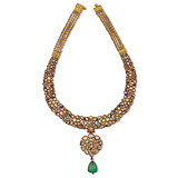A 'POLKI' DIAMOND AND EMERALD NECKLACE -    - Auction of Fine Jewels & Watches