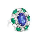 A TANZANITE, EMERALD AND DIAMOND RING -    - Auction of Fine Jewels & Watches
