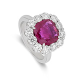 A RUBY AND DIAMOND RING -    - Auction of Fine Jewels & Watches