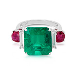 AN IMPORTANT EMERALD, RUBY AND DIAMOND RING -    - Auction of Fine Jewels & Watches