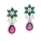 A PAIR OF RUBELLITE, EMERALD AND DIAMOND EAR PENDANTS -    - Auction of Fine Jewels & Watches