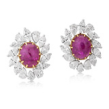 A PAIR OF RUBY AND DIAMOND EAR CLIPS -    - Auction of Fine Jewels & Watches