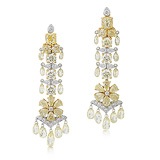 AN IMPORTANT PAIR OF COLOURED DIAMOND AND DIAMOND EAR PENDANTS -    - Auction of Fine Jewels & Watches