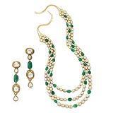 A SUITE OF EMERALD AND 'POLKI' DIAMOND JEWELRY -    - Auction of Fine Jewels & Watches