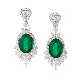 A MAJESTIC PAIR OF EMERALD AND DIAMOND EAR PENDANTS -    - Auction of Fine Jewels & Watches