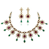 A SUITE OF 'POLKI' DIAMOND, RUBY AND EMERALD JEWELRY -    - Auction of Fine Jewels & Watches