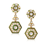 A PAIR OF 'POLKI' DIAMOND AND EMERALD EAR PENDANTS -    - Auction of Fine Jewels & Watches