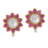 A PAIR OF RUBY AND 'POLKI' DIAMOND EAR CLIPS -    - Auction of Fine Jewels & Watches