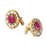 A PAIR OF RUBY AND 'POLKI' DIAMOND CUFFLINKS -    - Auction of Fine Jewels & Watches