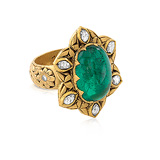 AN EMERALD AND DIAMOND RING -    - Auction of Fine Jewels & Watches