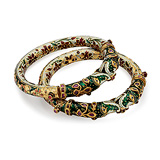 AN IMPORTANT PAIR OF PERIOD DIAMOND AND ENAMEL 'KADA' BANGLES -    - Auction of Fine Jewels & Watches