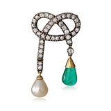 A PEARL, EMERALD AND DIAMOND 'GIRANDOLE' BROOCH -    - Auction of Fine Jewels & Watches