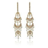 A DELICATE PAIR OF 'POLKI' DIAMOND EAR PENDANTS -    - Auction of Fine Jewels & Watches