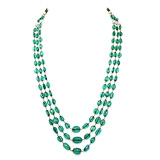AN EMERALD BEAD NECKLACE -    - Auction of Fine Jewels & Watches