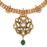 A PERIOD 'POLKI' DIAMOND AND EMERALD PENDANT -    - Auction of Fine Jewels & Watches