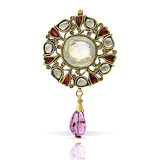 A PERIOD YELLOW SAPPHIRE AND DIAMOND PENDANT -    - Auction of Fine Jewels & Watches