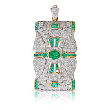 AN EMERALD AN DIAMOND PENDANT -    - Auction of Fine Jewels & Watches