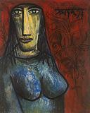 Portrait of a Greek Girl - F N Souza - Summer Art Auction 2012