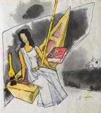 Gaja Gamini - M F Husain - Winter Online Auction: Modern Indian Art