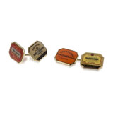 A PAIR OF GOLD 'CHAMPAGNE LABEL' CUFFLINKS, BY BENJAMIN C. FROBISHER -    - Absolute Auction of Indian Art & Collectibles