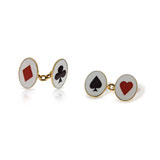 A PAIR OF ENAMEL 'PLAYING CARD' CUFFLINKS -    - Absolute Auction of Indian Art & Collectibles