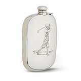 A 'GOLF PLAYER' STERLING SILVER FLASK -    - Absolute Auction of Indian Art & Collectibles